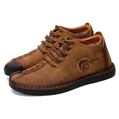 Gearbest Men\'s Versatile Soft Warmest Stitching Casual Leather Shoes