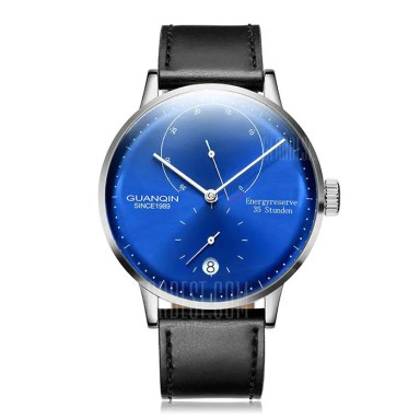 Gearbest Guanqin gj16106 GUANQIN Men Leather Band Automatic Mechanical Watch - BRIGHT BLACK FRAME + BLUE LENS