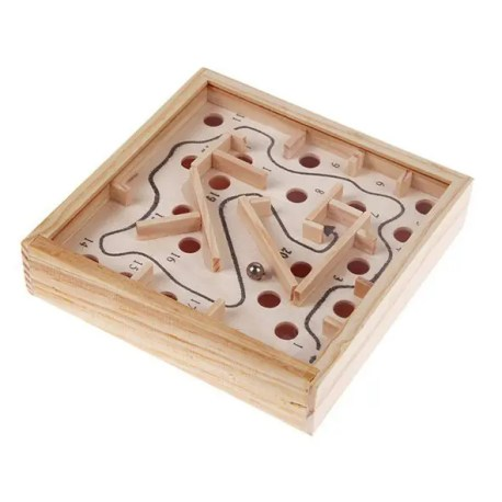 Gearbest Wooden Labyrinth Puzzle Maze - WOOD COLOR Mini Balance Board Game Toys Kids Intellectual Development Education