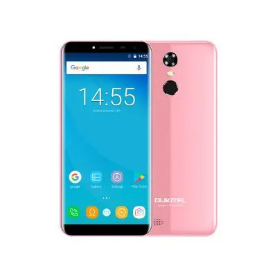 OUKITEL C8 Pink UK 5.5 Inch HD LTPS Infinity Display Android 7.0 MTK6580A 1.3GHz Quad-core 2GB RAM+16GB ROM Dual Cameras 3000mAh battery Dual SIM Fingerprint GPS Bluetooth WIFI Mobile Phone