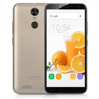 OUKITEL C8 Golden EU 5.5 Inch HD LTPS Infinity Display Android 7.0 MTK6580A 1.3GHz Quad-core 2GB RAM+16GB ROM Dual Cameras 3000mAh battery Dual SIM Fingerprint GPS Bluetooth WIFI Mobile Phone
