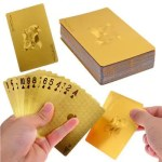 Durable Waterproof Luxury 24K Gold Foil Poker Playing Cards Deck Carta de Baralho with Box Good Gift Idea