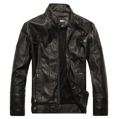 Gearbest Men's Autumn and Winter Collar Motorcycle Leather Jacket