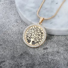 Hot Tree of Life Crystal Round Small Pendant Necklace Gold Silver Chain Elegant Women Jewelry Gifts