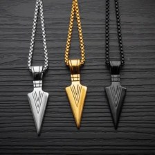 Fashion Jewelry Gold Silver black Arrow Head Pendant Long Chain Necklace Stainless Steel Necklaces