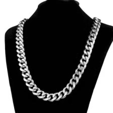 15mm Fashion Men Jewelry Stainless Steel Silver Miami Silver Cuban Link Chain Necklace