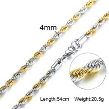 316L Stainless Steel Rope Chain Mens Necklace Gold Color No Fade Free Allergic