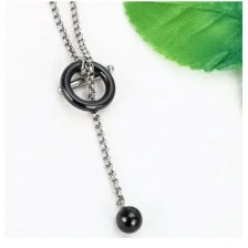 Silver Color Minimalist Simple Necklace Circle With Bar Long Necklace Without Clasp Figaro Chain