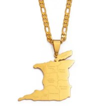 Map City Name Pendant Necklace For Women Men City Gold Chain Trendy Ethnic Jewelry