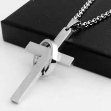 Simple Cross with Circle Pendant Necklaces Stainless Steel Silver Neck Chain