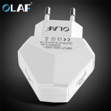 OLAF LED Green Light 2.1A Dual USB Diamond Smart Fast Charger for iPhone Samsung Xiaomi Huawei