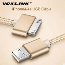 USB Cable Nylon Braided Fast Charge Cable 30 Pin Metal Plug Sync Data USB Charger Cable For iphone 4 4S 3GS iPad 1 2 3