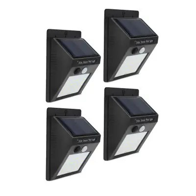 Gearbest 20-LED Wireless Motion Sensor Solar Light Wall Lamp for Corridor Hallway Gate Courtyard - BLACK 4PCS