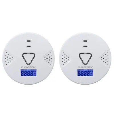 2X Floureon Carbon Monoxide Alarm CO Detector with Human Voice & LED Warning Digital Display Battery Operated Gas Detection