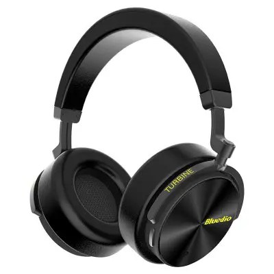 Gearbest Bluedio T5 Wireless Bluetooth Headphone with Microphone - BLACK Type-C Charging / Active Noise Cancelling / 1000h Long Standby