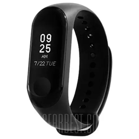 Gearbest Xiaomi Mi Band 3 Smart Bracelet Wristband - BLACK INTERNATIONAL VERSION
