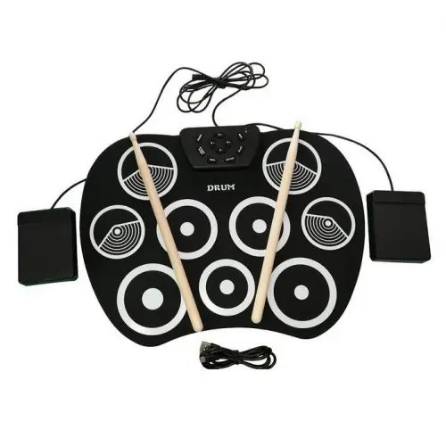 9 Pad Electronic Roll Up Drum Kit USB Digital Foldable Practise Set