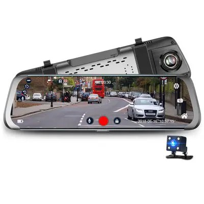 Gearbest Junsun A920 Dual Lens Rearview Mirror - BLACK 10 inch Touch Screen HD 1080P Android 5.1 GPS Recorder DVR Dash Camera