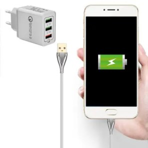 QC3.0 3-port EU Plug USB Charger Power Adapter + Type-C Charging Cable Set