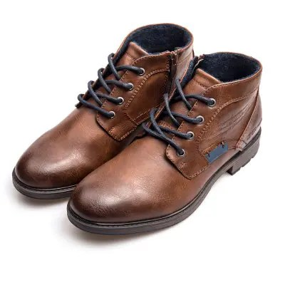 XPER Men Trendy British Style Anti-slip Cotton-padded Lace-up Boots