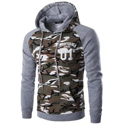 Gearbest Fashion Camouflage Assorted Colors Hoodie for Men - LIGHT GRAY