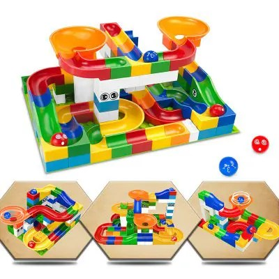 Race Run Maze Balls Track Building Blocks Educational Bricks Toy 52pcs