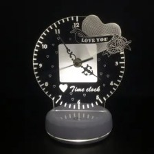 USB Charging Love Time Clock Table Lamp
