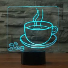 3D Visual Table Lamp 7 Color Changing Hot Coffee Cup LED Bedside Night Light Fixture Gifts Sleep Lighting Restaurant Decor