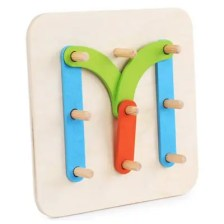 Wooden Letter Number Shape Color Pegboard Set Preschool Educational Stacking Blocks