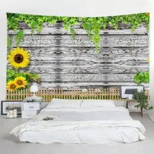 Shedding Wooden Sunflower Tapestry