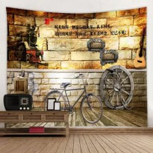 Vintage Style Bicycle Brick Wall With Text Print Tapestry