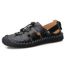 AILADUN Mens Summer Breathable Sandals Casual Large Size Leather Male Footwear