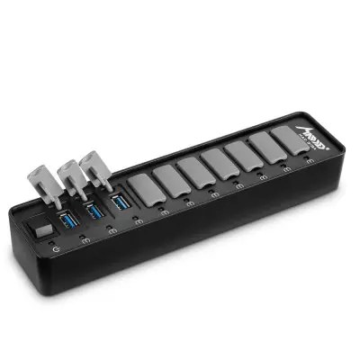 Gearbest MAD GIGA HY - HB - 8117 10 Ports USB 3.0 HUB - BLACK AND GREY 10-PORT + EU PLUG