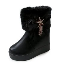 Cotton Boots Muffins Thick Bottom Boots High Boots Round Headwaterproof Table