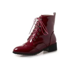 Autumn and Winter New Small Round Head Low Heel Women'S Boots Thick with Patent