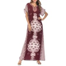 Embroideried Floral Printing Long Dress Middle East Arab Robe