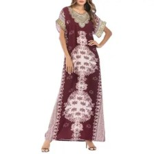 Embroideried Floral Printing Round Neck Long Dress Middle East Arab Robe