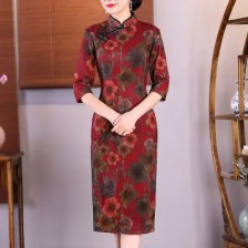 Fashion Slim Aristocratic Style Vintage Chinese Style Elegant Cheongsam Dress