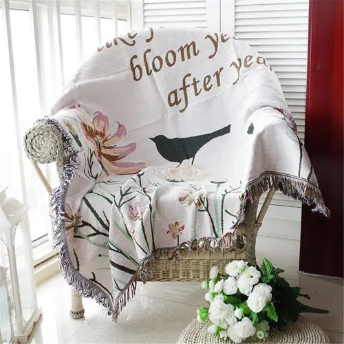 sofa free shipping europe cindy crawford sectional dimensions cotton thread style fashion luxury flowers birds knitted blanket