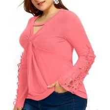 Solid Color Lace Hollow Out Flare Sleeve T Shirt