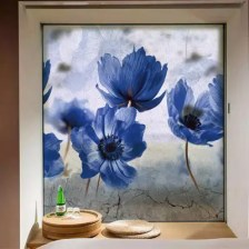 Fashion Flowers Printing PVC Window Film Wall Sticker