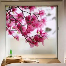 Fashion Removable Flowers Printing PVC Window Film Wall Sticker