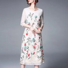 Long Style Dress with Chinese Style Round Collar and Embroidery
