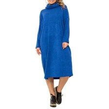 Women'S Large Size Dress High Collar Warm Casual Dress Blue Large Size Clothes