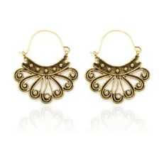 Ethnic Style Alloy Peacock Earrings Vintage Worn Rivet Earrings