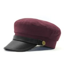PU Leather Buckle Copper Buckle Navy Cap + Code for 57CM