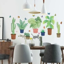 Potted Cartoon Removable PVC Window Film Wall Sticker