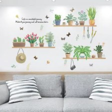 Fresh Green Potted Plants Removable PVC Window Film Wall Sticker