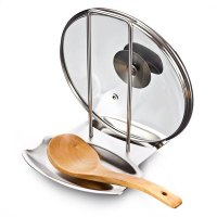 Stainless Steel Pot Lid Holder Spoon Rest Combo for ...