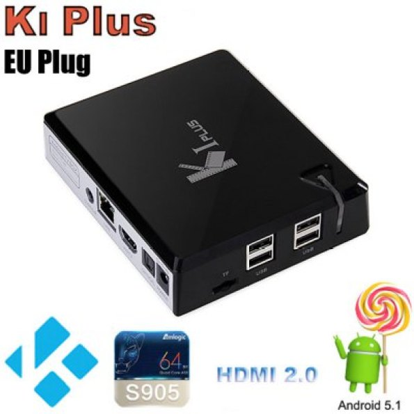 Ki Plus TV Box  -  EU PLUG  BLACK  Android 5.1 Amlogic S905 Quad Core 1G 8G 2.4GHz WiFi HDMI 2.0 Mali-450MP Цена €37.53